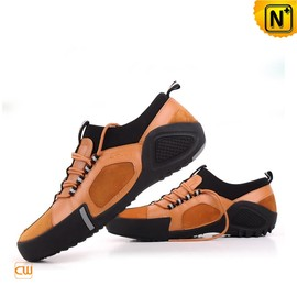 CWMALLS - Men Yellow Leather Sport Loafers Shoes CW701110 - cwmalls.com