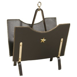 Jacques Adnet - Chic Black Leather Magazine Rack