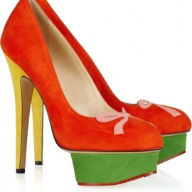 Charlotte Olympia - Arabella color-block suede platform pumps