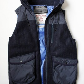 MINOTAUR - HARRIS TWEED VEST/NAVY STRIPE