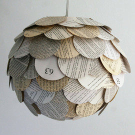 Zipper8Lighting - Artichoke Mixed Book Page Pendant Light - Hanging Paper Lantern - Shade Only
