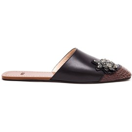 N°21 - Leather and Python Embellished Mules