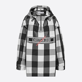 Dior - Dior Hooded Anorak In Check Motif Taffeta Black