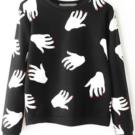 Hand Print Black Sweatshirt pictures