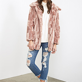 FOREVER 21 - checkered fur coat