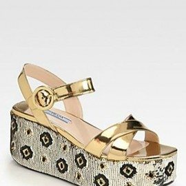PRADA - Flower Wedge Sandals