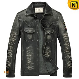 CWMALLS - Vintage Mens Grey Distressed Leather Shirt CW850237