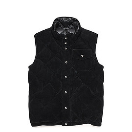 Crescent Down Works - LOFTMAN別注 Leather Quilting Vest-Black