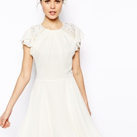 ASOS - Embellished Dress With Angel Sleeve at ASOS