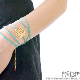 Ostara - 14k Filigree Suede Chain Bracelet/Turquoise×Light Siam