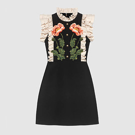 gucc - Floral embroidered wool silk dress