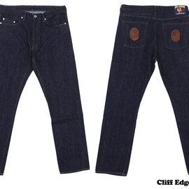 A BATHING APE - 1999 TYPE 5 LEATHER APE HEAD DENIM PANTS