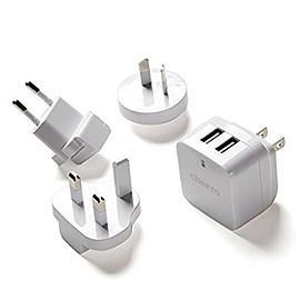 cheero - cheero Miracle Charger - 急速充電 3.4A USB 2ポート ACアダプタ ( 充電器 ) 世界140カ国以上対応 各種コンセント用プラグ付き(変圧器不要)
