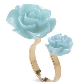 Retro Rosie Ring in Light Blue - Blue, Black, Flower, Fairytale, Pastel, Daytime Party, Top Rated