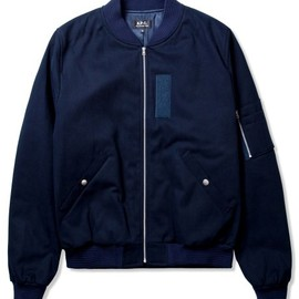 A.P.C - Navy Blue Classic Bomber Jacket