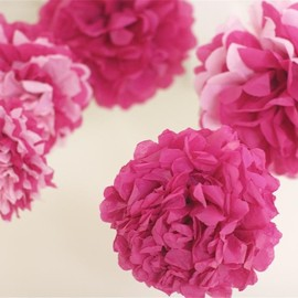 Luulla - Pink Tissue Paper Pom Poms 5 Nursery Mobile / Baby Shower / Decoration READY TO SHIP
