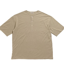 AURALEE - High Gauge Pique Double Cloth Henley Neck-Khaki