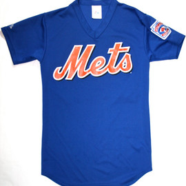 VINTAGE - Vintage Mets Polyester Jersey Shirt Mens Size Small Made in USA