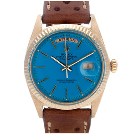 ROLEX - All-Original Blue Stella Dial Yellow Gold Day-Date