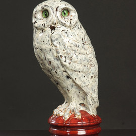Emile Galle - Ceramic owl made by Emile Galle (France)