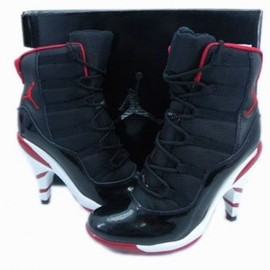 nike - women's jordan xi heels black varsity red white