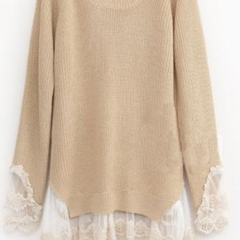 shepiner - Beige Long Sleeve Contrast Lace Pullovers Sweater