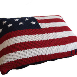 RALPH LAUREN - USA America Flag Polo Blue Accent Pillow