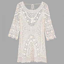 Yoins - Beige Tassel Lace-up Crochet Hollow Lace Beachwear