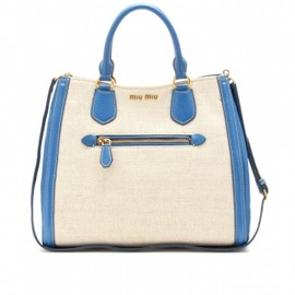 miu miu - LEATHER-TRIMMED CANVAS TOTE 1