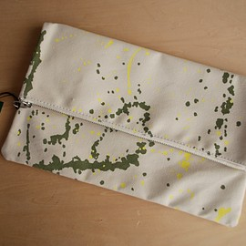 TEMBEA - CLUTCH BAG LARGE ペンキ OLIVE/YELLOW