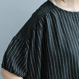 shirt for womens - Black linen shirt for womens, White linen top, loose blouse, Short sleeve shirt