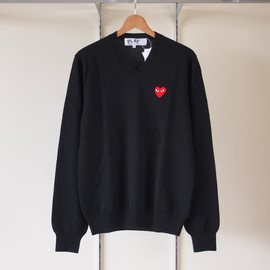 PLAY COMME des GARCONS - TOP紡毛ラムウール天竺(赤エンブレム) Sweater #black