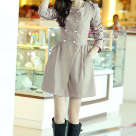 British Style Double Breast Pure Color Elegant Trench Coat