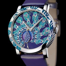 Boucheron - Crazy Jungle Peacock - Or Gris - Cadran Email Grand Feu Champlevé - Boucheron