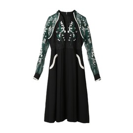 mame - Embroidery Lace Sleeve Dress