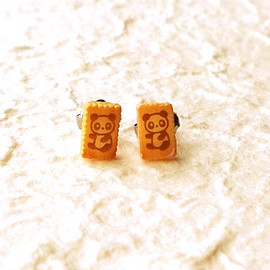 SouZouCreations - Tiny Panda Biscuit   Earrings