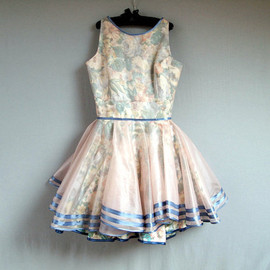 Mini Doll chiffon dress hem have Hollow flower decoration