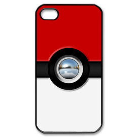 simplegiftshop - iphone 4 4s case Funny Cute Retro Chrome Button pokemon pokeball pikachu Apple iphone 4 4s case black or white color case