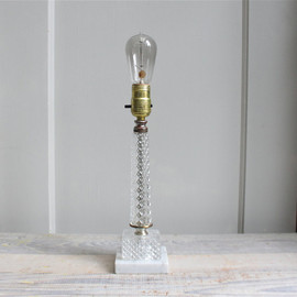 Vintage Glass Hollywood Regency Lamp - Crystal