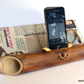 SpeakaBoo1 - Handcrafted acoustic bamboo speaker amplifier
