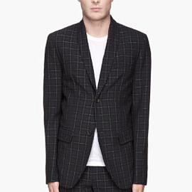MARC BY MARC JACOBS - Navy and metallic silver plaid Sylvester Seersucker Blazer