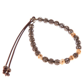 CATHERINE MICHIELS - Bob bone beads with openwork oxidized Copper 6mm