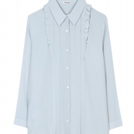 miu miu - Miu Miu - SILK TOP WITH RUFFLED TRIM  - mytheresa.com GmbH