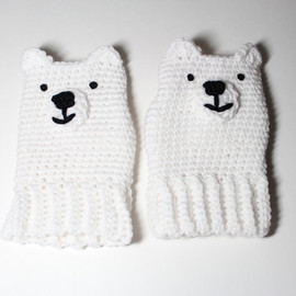 MsAmandaJayne - Polar Bear fingerless gloves- crochet white gloves- animal fingerless mittens