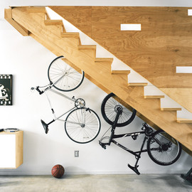Under-stair bicycle storage.