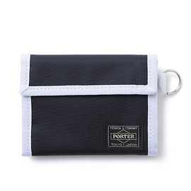 "HEAD PORTER - ""SHATI"" WALLET (M) BLACK/WHITE"