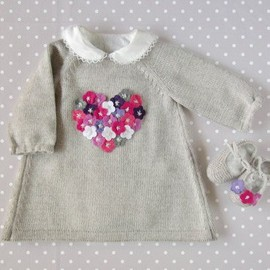 Knitted baby dress with little felt flowers. Gray. by tenderblue, $80.00