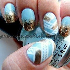 nail - Brittney W. creates a pretty woven gold manicure!