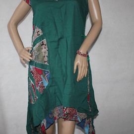Dress - Summer Cotton double layer Asymmetric Dress in dark green