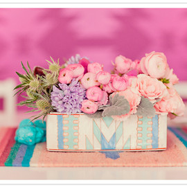 painted box floral centerpiece